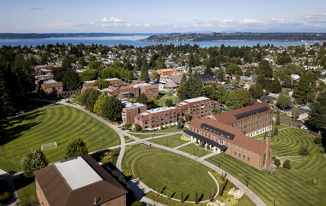 Aerial photograph of campus captured using a drone camera.