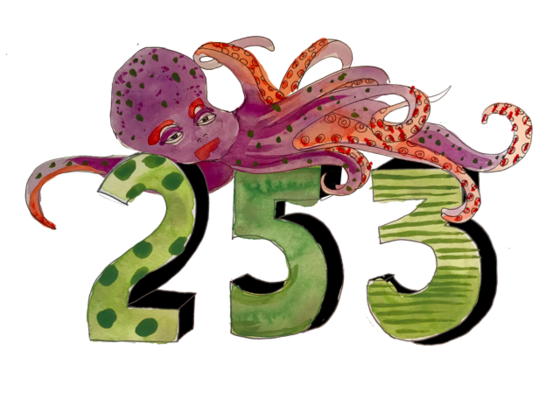 Illustration of an octopus and the number 253.