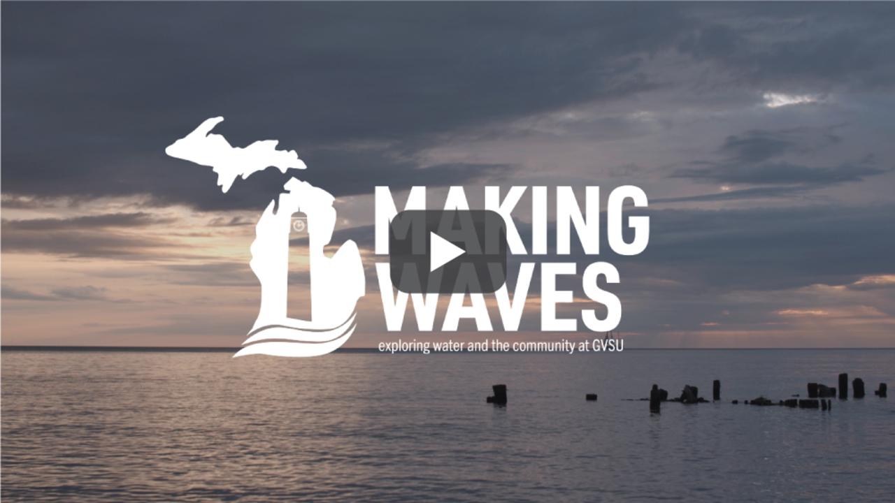 The Making Waves Initiative logo superimposed on a lake. Follow this link to play the Making Waves Initiative video.