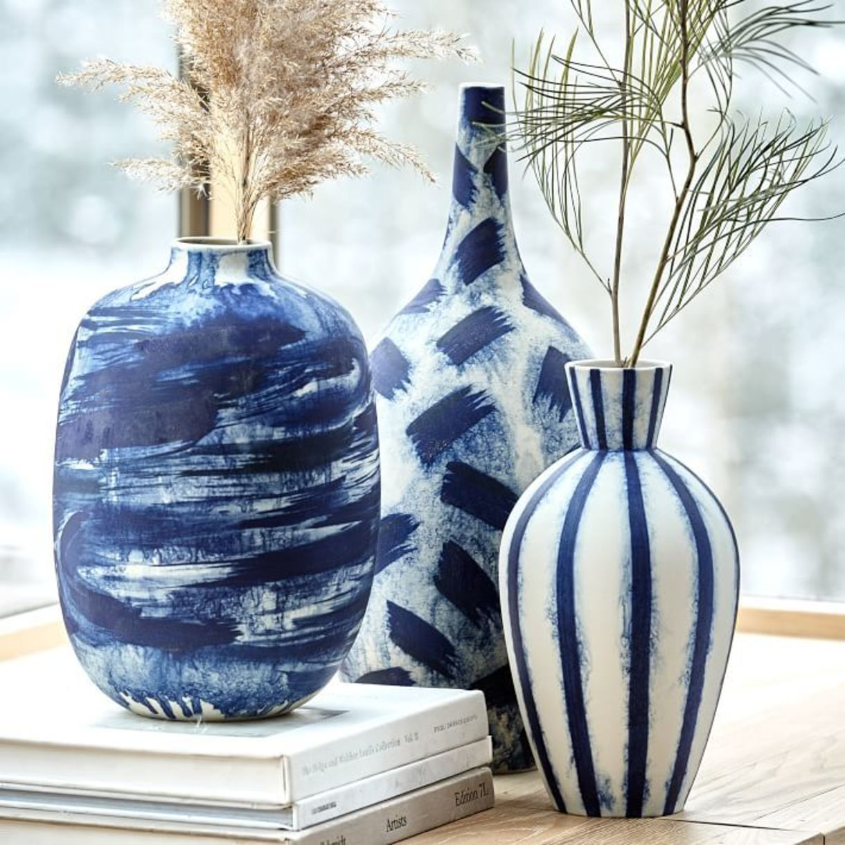 Limited edition abstract indigo vases from West Elm