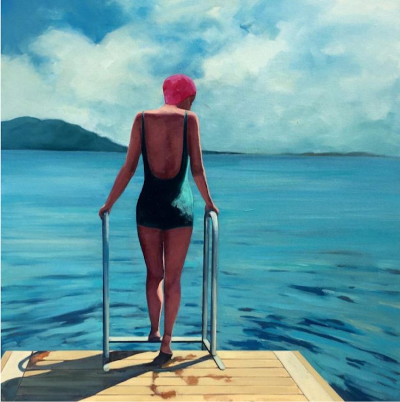 """Summer Swim"" painting by T.S. Harris"