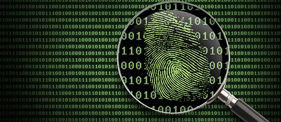 Magnifying glass over code with thumbprint