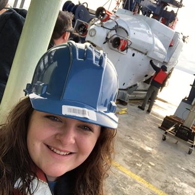eosciences junior Mia Self on a ship