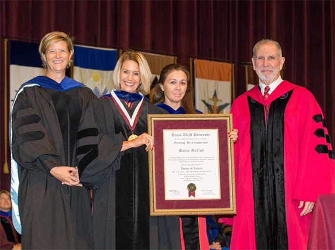 National Academy of Sciences President Marcia McNutt Receives Honorary Degree From Texas A&M