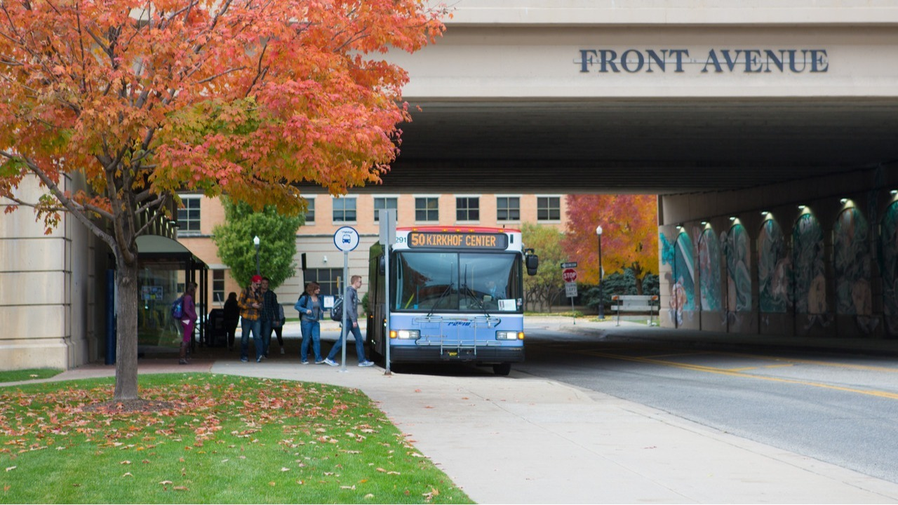 Students boarding the Route 50 bus.