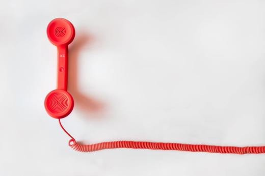 Red corded phone