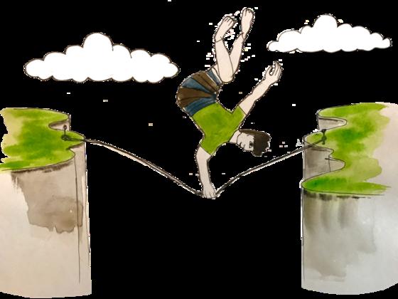 Illustration of an athlete balancing on a slackline