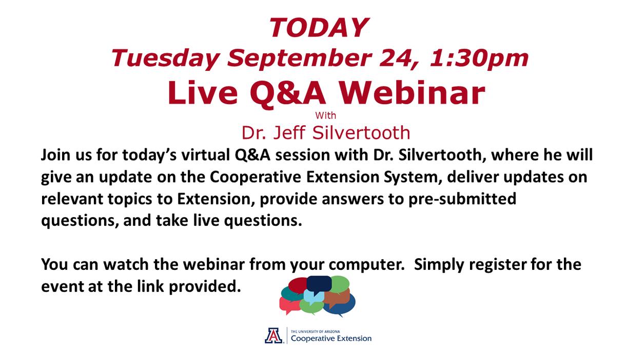 Live Q & A Webinar, Today, 1:30 p.m.