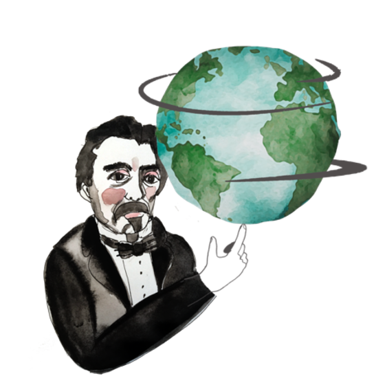 Illustration of Leon Foucault and a spinning globe