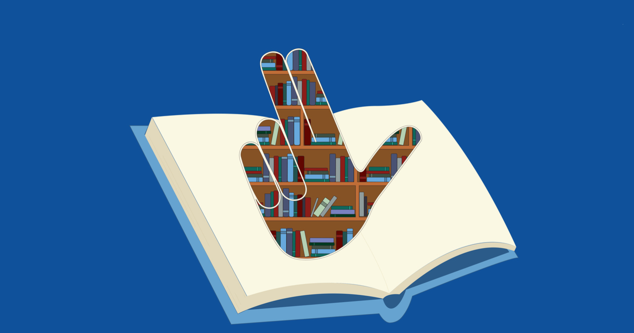 "The Family Weekend logo. A GVSU ""anchor up"" hand sign made of a bookshelf illustration atop an open book."