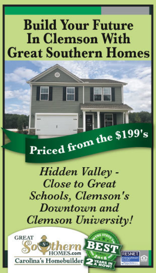 Build your future in Clemson with Great Southern Homes. Priced from the $199's. Hidden Valley - Close to Great Schools, Clemson's Downtown and Clemson University! Great Southern Homes.com. Carolina's Homebuilder.