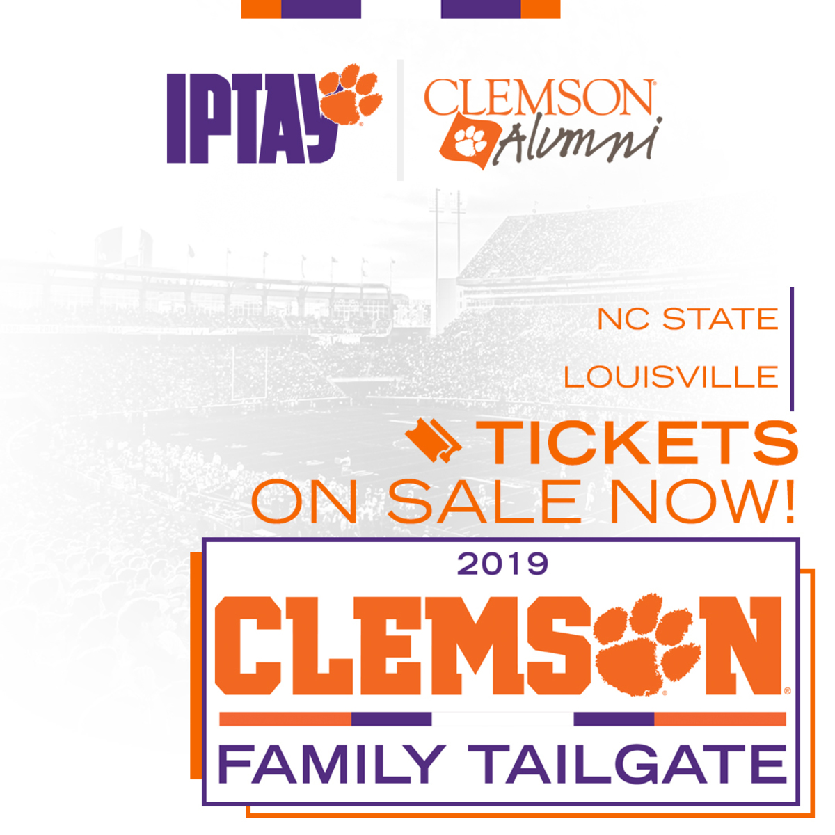 Tickets on sale now for Clemson Family Tailgate at NC State and Louisville