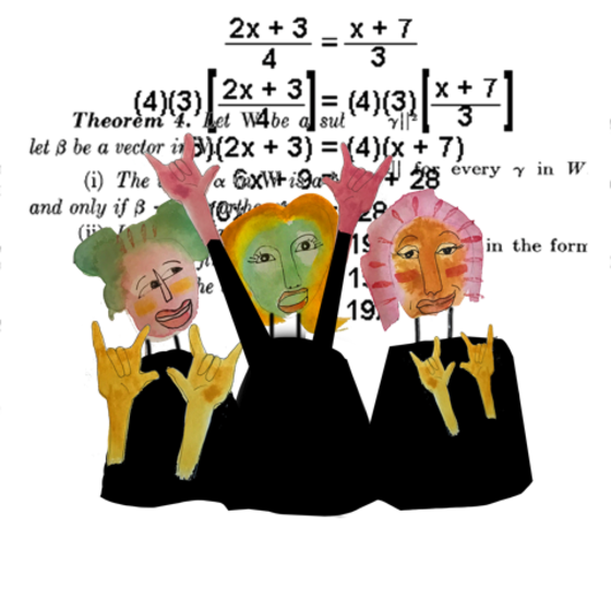 Illustration of girls doing math
