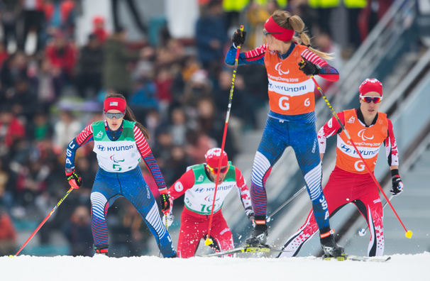 Mia Zutter and guide, Kristina Trygstad-Saari, ski in the relay at the 2018 Paralympic Games.