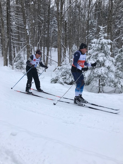 Skier with guide in Craftsbury, VT.