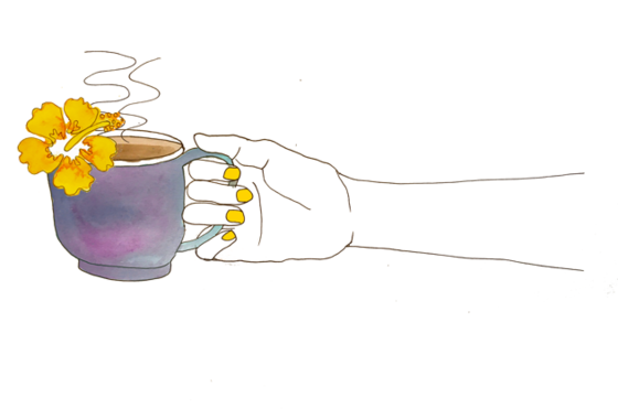 Illustration of a hand holding a coffee mug and a flower