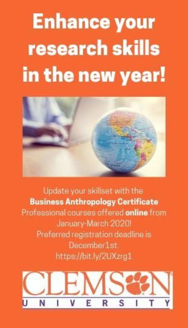 Enahnce your research skills in thew new year! Update your skillset with the Business Anthropology Certificate Professional courses offered online from January-March, 2020. Preferred registration deadline is December 1st. https://bit.ly/2UXzrg1