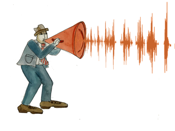 Illustration of a person with a red megaphone and soundwaves