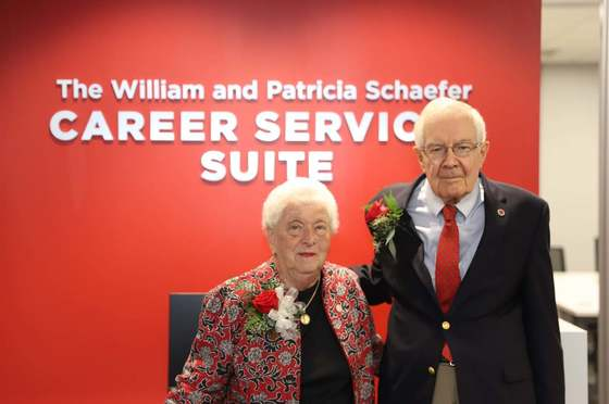 Image of William and Patricia Schaefer in the Career Services Suite