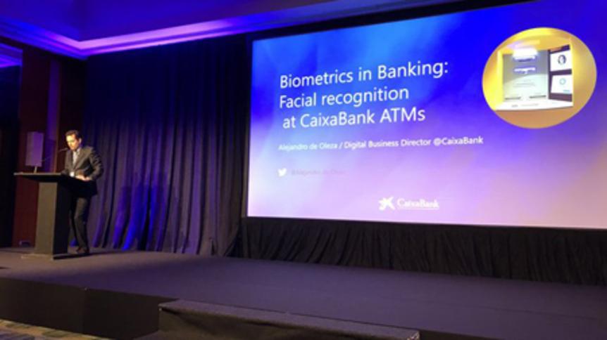 CaixaBank's Alejandro se Oleza at an ATMIA conference in Rome
