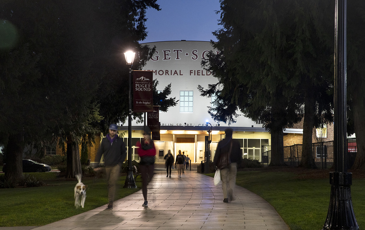 Puget Sound's Memorial Fieldhouse at night