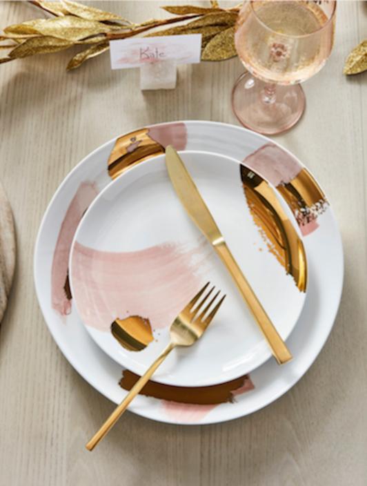 West Elm gilded brushstrokes dinnerware
