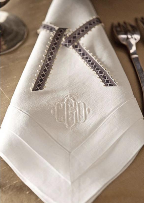 Juliska monogram dinner napkins