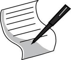 Image of application, lined paper with pen