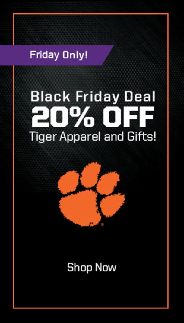 Friday Only! Black Friday Deal 20% off Tiger apparel and gifts. Shop now.