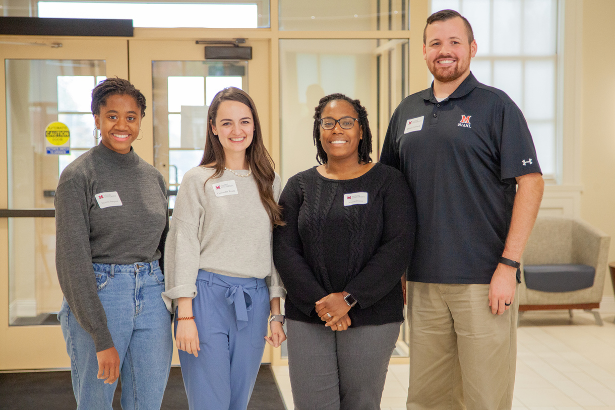 L to R: Victoria Sampson BS '19, , Cassandra Guarneros Rosile, MS '15, Desirae Danzy, MS '18, and Spencer Ambach, BS '16, MS '18