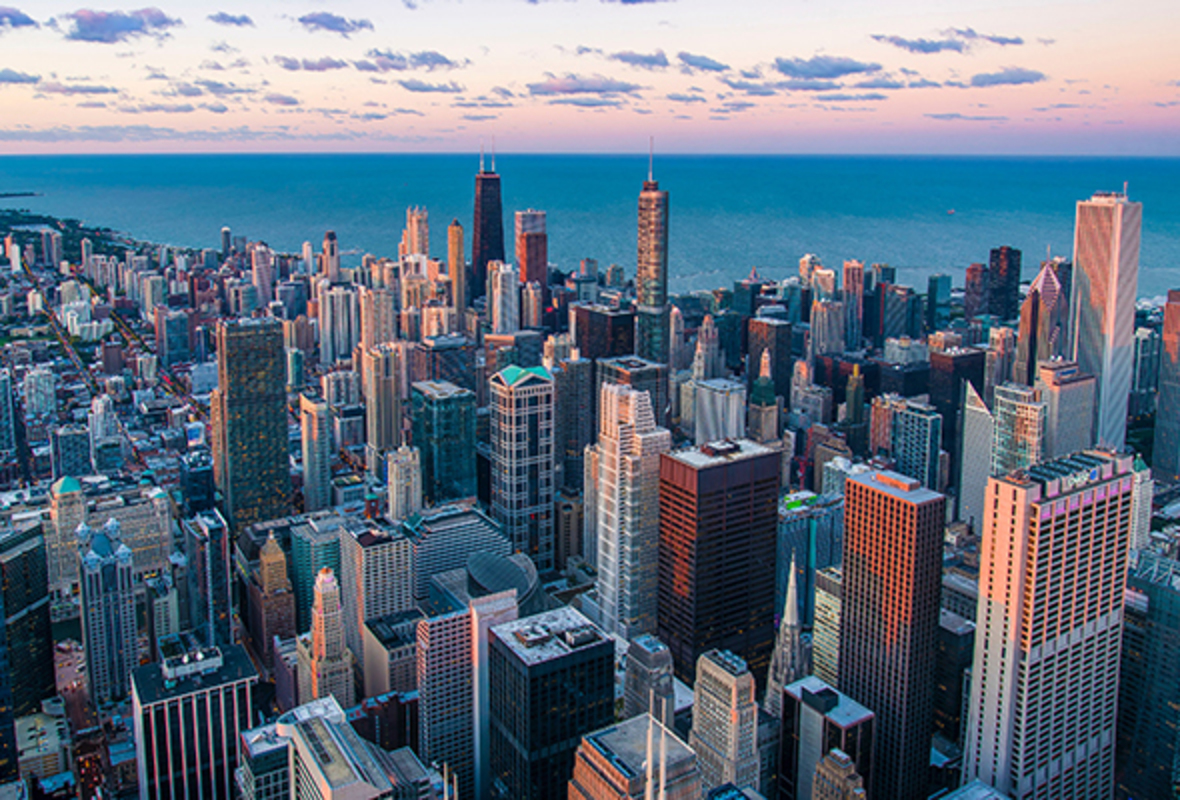 aerial view of downtown Chicago from Willis Tower Skydeck