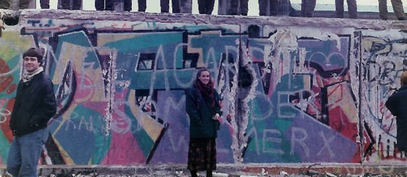 GW Professor Hope Harrison, then a graduate student, visited the Berlin Wall at the time of its historic fall