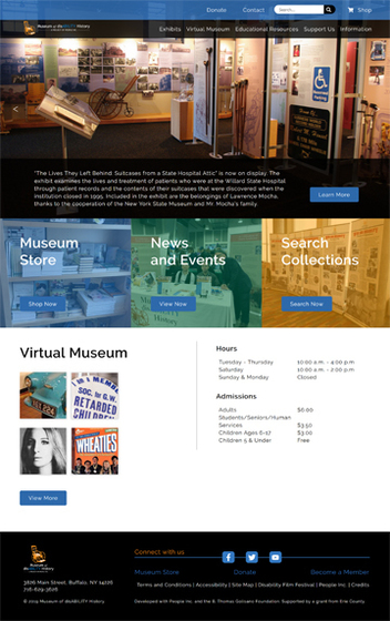 Picure of the new Museum of disABILITY History website homepage.