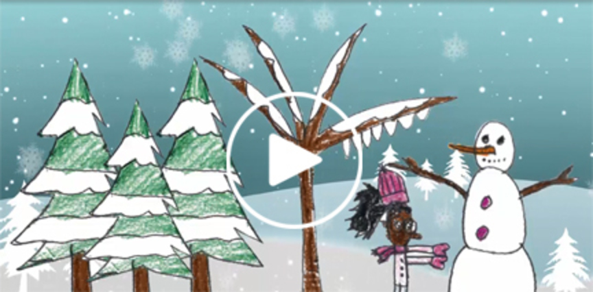 Image of the People Inc. Holiday card video screenshot with a play button.