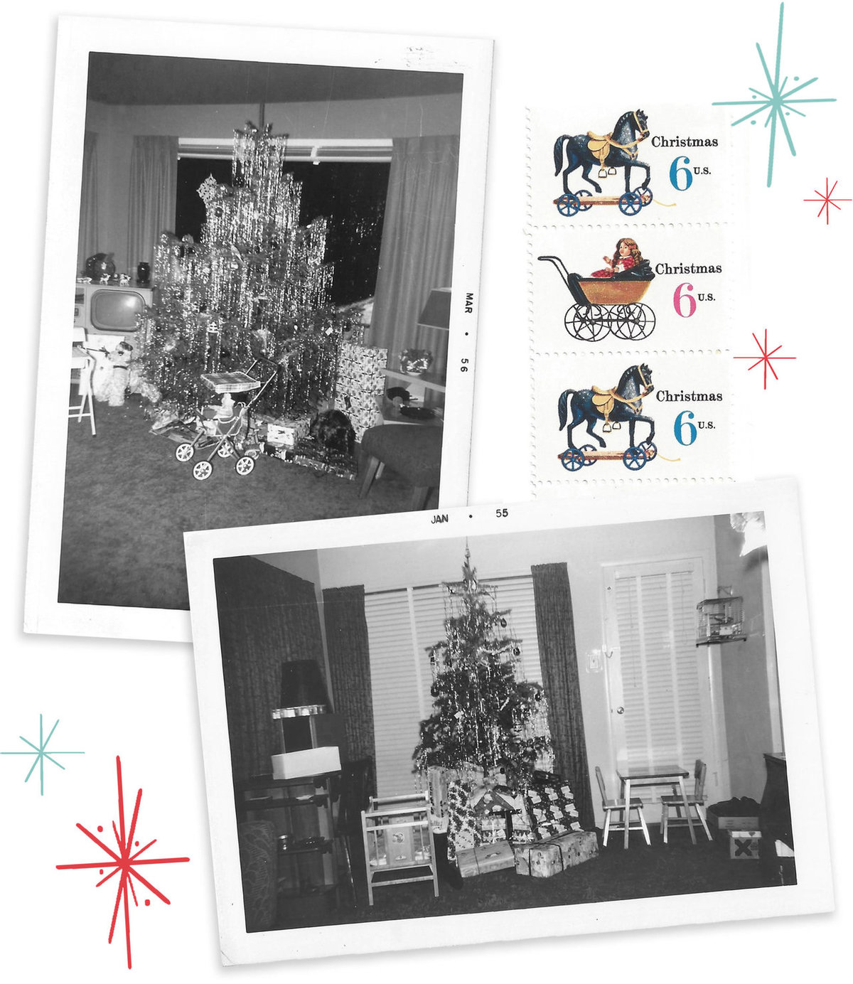 Lauren's childhood Christmas trees