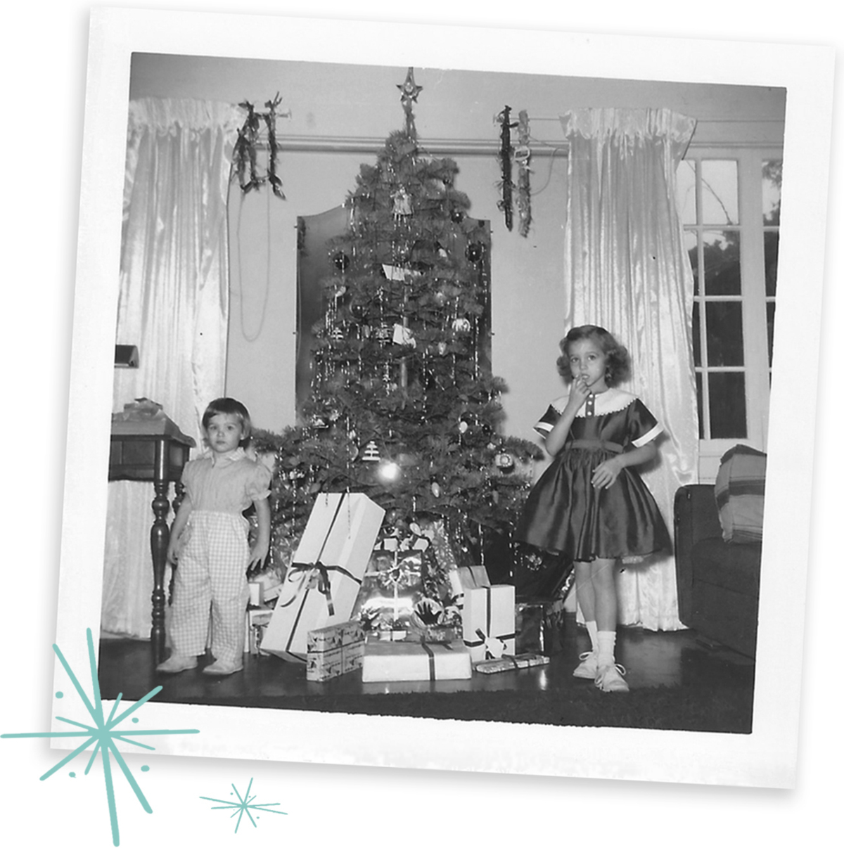 Lauren and sister childhood Christmas picture