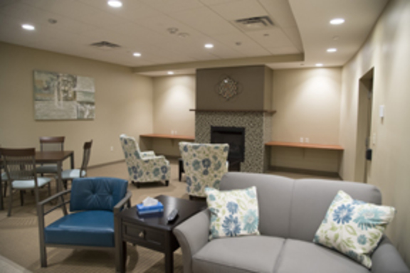 The community room at Highland School Apartments.