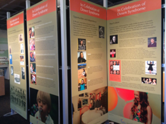 Photo of panels for the Down Syndrome exhibit.