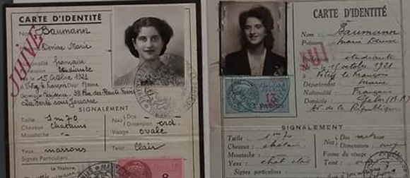 Holocaust identification cards of two women