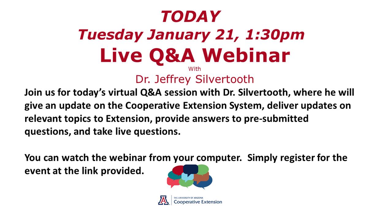 Live Q & A Webinar Today