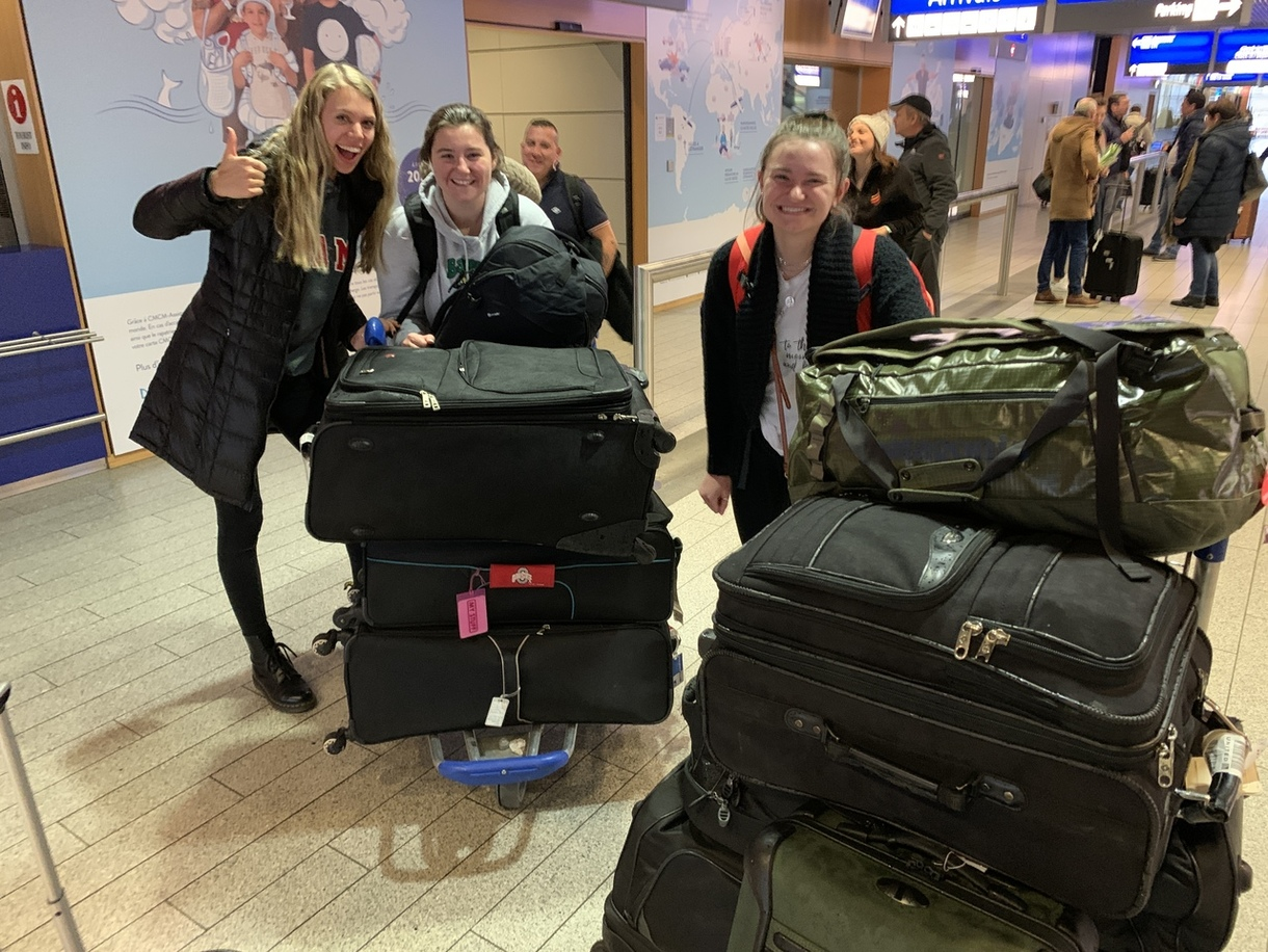 Girls with luggage