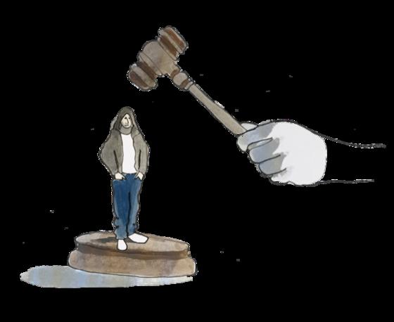 Illustration of a juvenile under the gavel of the criminal justice system