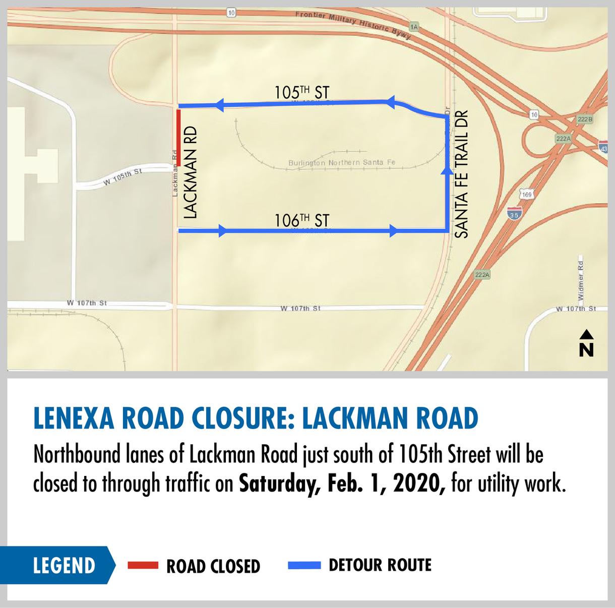 Lenexa road clousure: Lackman Road