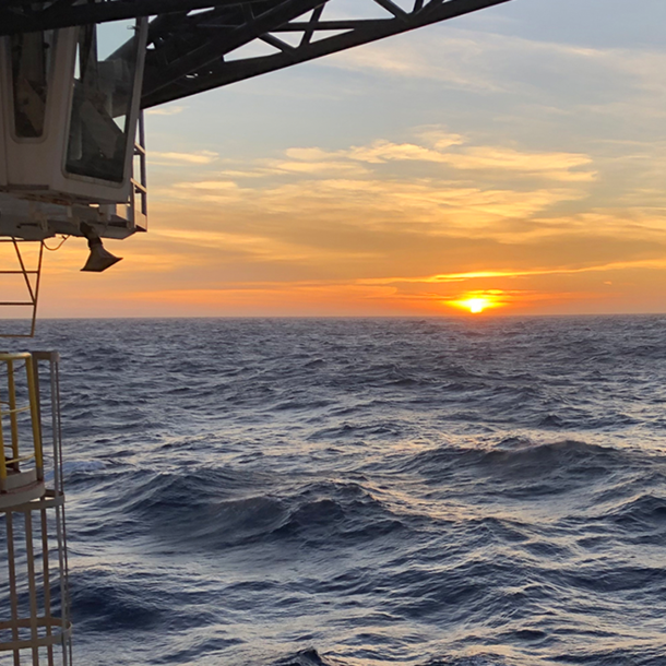 Sunset view from the JOIDES Resolution research drill ship during Expedition 378. (Photo by Dr. Ulla Roehl.)