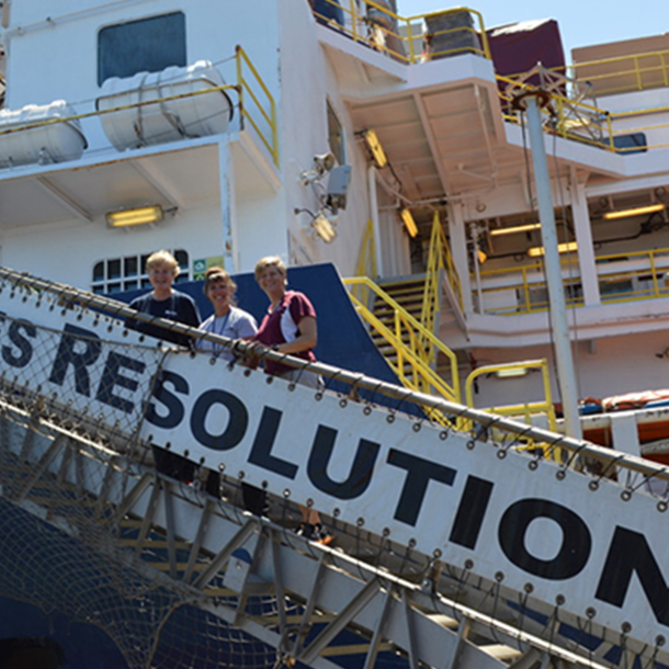 Ursula Röhl, Co-Chief Scientist; Laurel Childress, Expedition Project Manager/Staff Scientist; and Debbie Thomas, Co-Chief. (Photo courtesy of IODP JRSO and Dr. Debbie Thomas.)