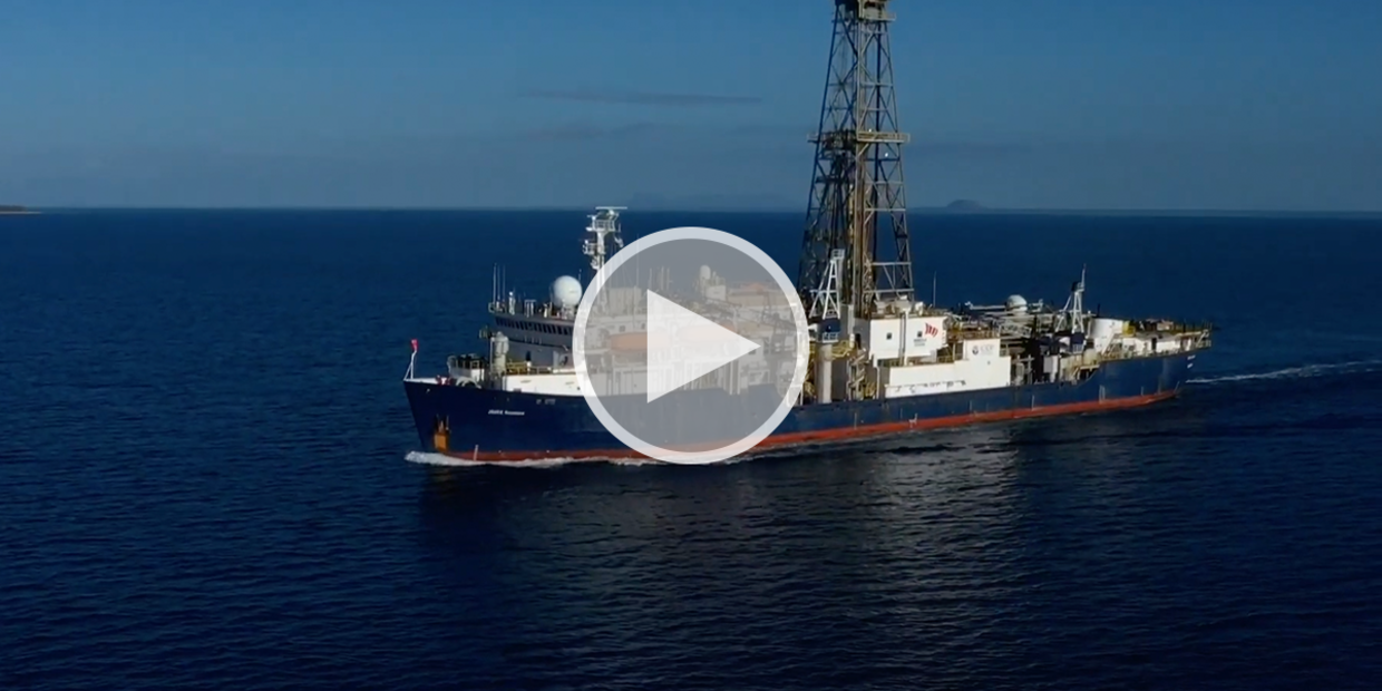 Promotional image for video of IODP Expedition 378.