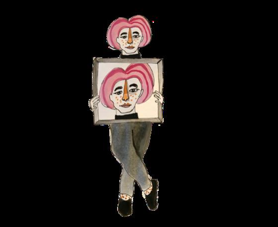 Illlustration of an artist holding a self-portrait