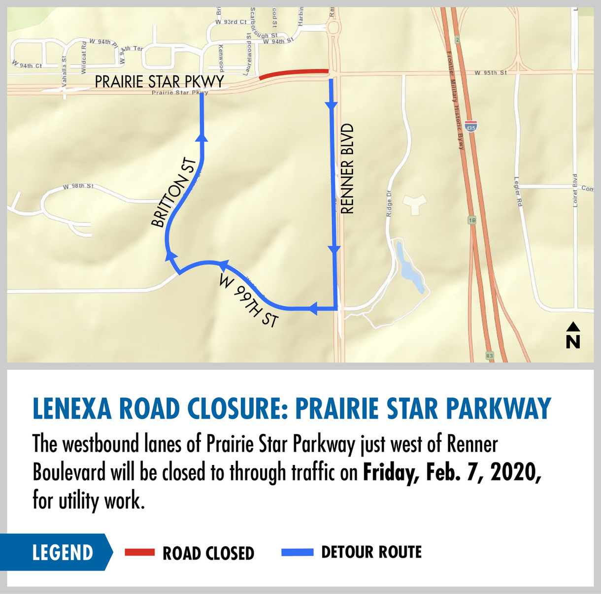 map showing westbound lanes of Prairie Star Parkway closed just west of Renner Boulevard on Friday, Feb. 7, 2020