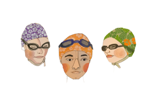 Illustration of swimmers wearing swim caps and goggles