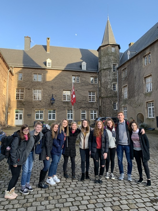 Students and sun and the chateau